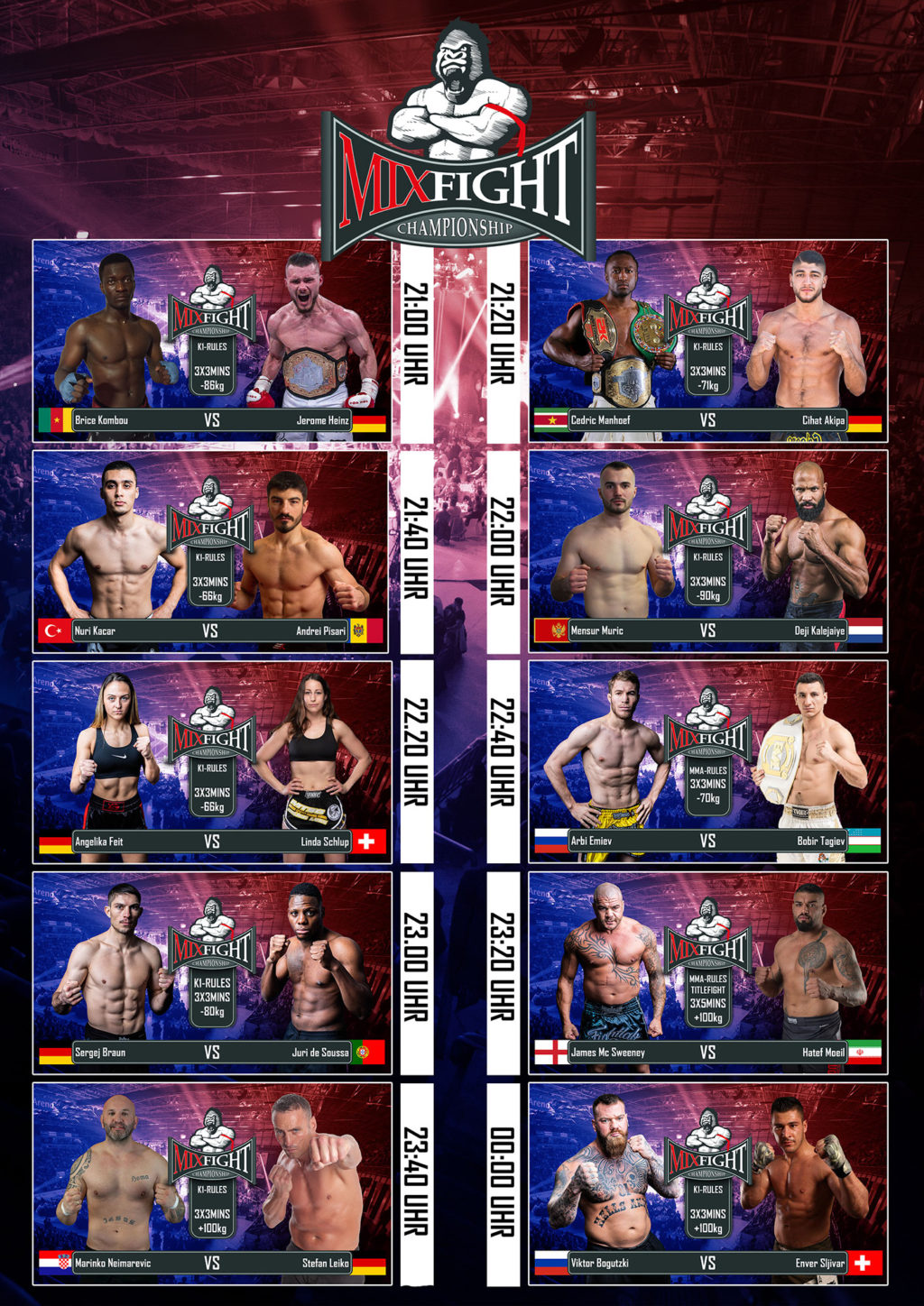 Mix fight Kassel fight card 1024x1448 - MIX FIGHT CHAMPIONCHIP 2019- 45 Euro gute Reihe